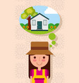 happy young woman thinking in house with garden vector image
