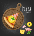 hawaiian pizza slice vector image vector image