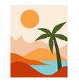 landscape with mountains sea and palm tree vector image vector image
