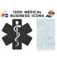 life star medical emblem icon with 1300 medical vector image