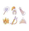 magical cute princess icon set icon collection vector image