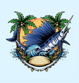marlin fish on beach with coconut trees vector image