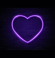 neon violet glowing heart banner on dark empty vector image