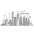 new york city skyline flat vector image