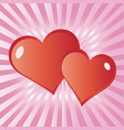 red love hearts valentine card vector image vector image