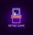 retro game neon label vector image vector image