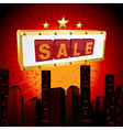 Sale sign over abstract cityscape vector image vector image
