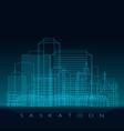 saskatoon skyline detailed silhouette modern vector image vector image