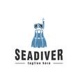 sea diver logo design inspiration vector image vector image
