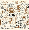 seamless pattern on theme coffee vector image vector image