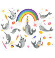 set cute cartoon gray narwhals with rainbow vector image