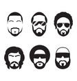 set of bearded hipster men faces vector image vector image