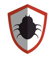 shield with bug virus alert icon vector image vector image