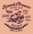 speed power motorcycle racing team vector image vector image