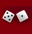 top view of white dice casino dice on red vector image