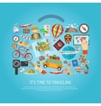Traveling Time Flat Color Concept vector image
