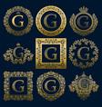 vintage monograms set of g letter vector image vector image
