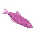 violet fish icon isometric style vector image vector image