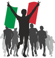 Winner with the Italy flag at the finish vector image vector image