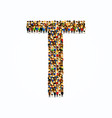 a group of people in english alphabet letter t vector image