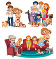 a set of big family vector image