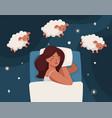 a woman falls asleep and counts sheep insomnia vector image vector image