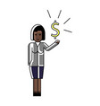 african woman with dollar sign in hand vector image vector image
