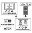 big data icons set virtualization computing vector image vector image