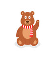 cartoon teddy bear with red scarf vector image