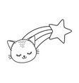 cat with shooting star black and white vector image vector image