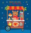christmas background with cute bear and sweets vector image vector image