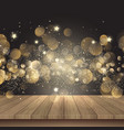 christmas background with wooden table and golden vector image