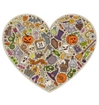 colorful set halloween cartoon doodle vector image