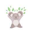 cute koala bear playing with eucalyptus leaves vector image vector image