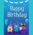 cute little monsters or funny aliens - birthday vector image vector image