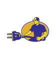 electrician plugging holding electric plug vector image vector image