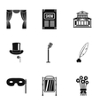 Entertainment in theatre icons set simple style vector image vector image