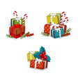 flat winter holiday symbols objects set vector image vector image