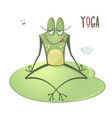 funny frog yoga sitting in a lotus pose spa vector image
