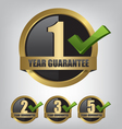 Guarantee gold label button set vector image