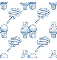 ice cream outline seamless pattern for design vector image vector image