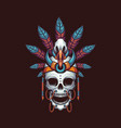 indian skull dayak vector image