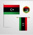 libya waving flag design with badge vector image vector image