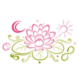 lotus floral element yin yang vector image vector image