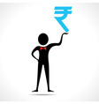 Man holding rupee symbol vector image vector image