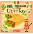 Mexican Menu Burritos vector image vector image