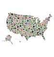 mosaic map of usa territories of stones vector image vector image