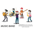 musicians rock group play guitar singer vector image