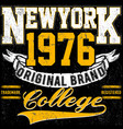 newyork typography vintage college brand logo vector image vector image