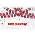 norway garland flag with confetti on transparent vector image